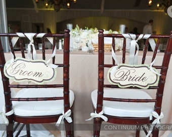 Custom Damask  Bride and Groom Chair Signs or Restrooms or Wedding Signs Customizable