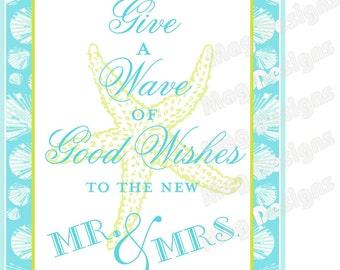 Wedding Wand Send Off Sign with Seashells - customizable