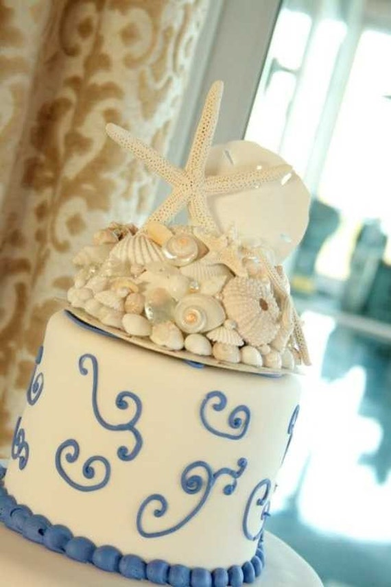 All White Starfish and Seashell Beach Wedding Cake Topper