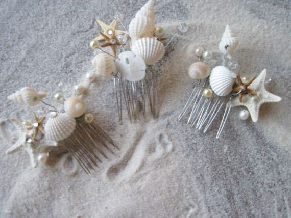Items similar to natural seashell and starfish hair comb for Seashells for hair