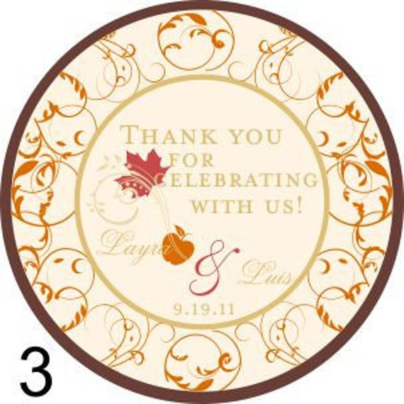 Wine Tags - Fall Wedding -  2 inch Round Thank you tags for gifts, wine bottles, favors - Wine Bottle Tags