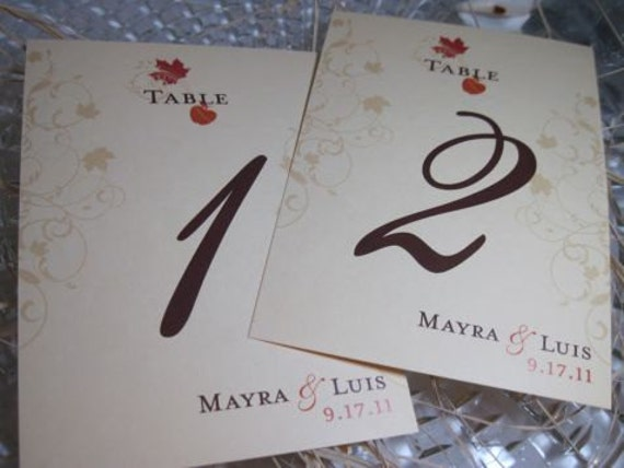 Table Numbers for Weddings and Special Occasions Elegant Scroll Fall Leaves Customizable 5x7 1-10 Flat