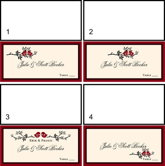 LOVE BIRD Placecards for Weddings Parties and Showers 50 2x4