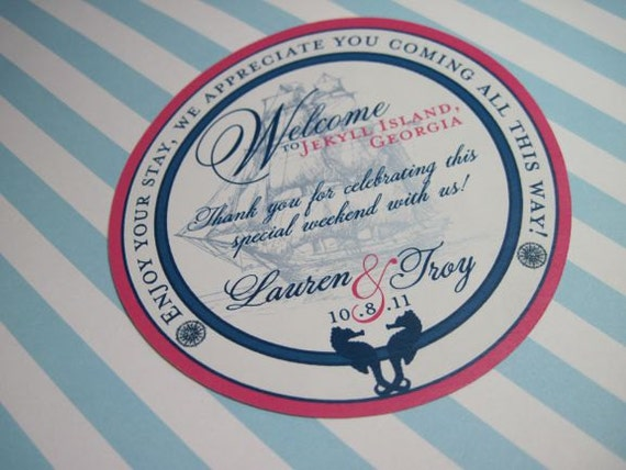 Gable Box Stickers for Beach Wedding Welcome gifts 25 4 inch Round Nautical Customizable