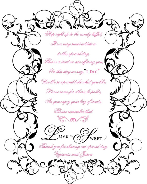 Scroll Swirl Wedding Reception Candy Buffet and Wedding Favor Sign