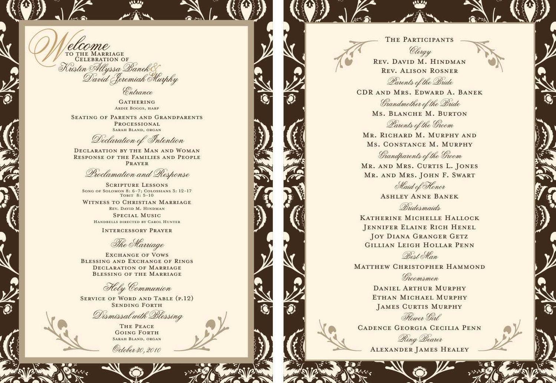 Custom Wedding Programs Choose Your Theme Formal Beach