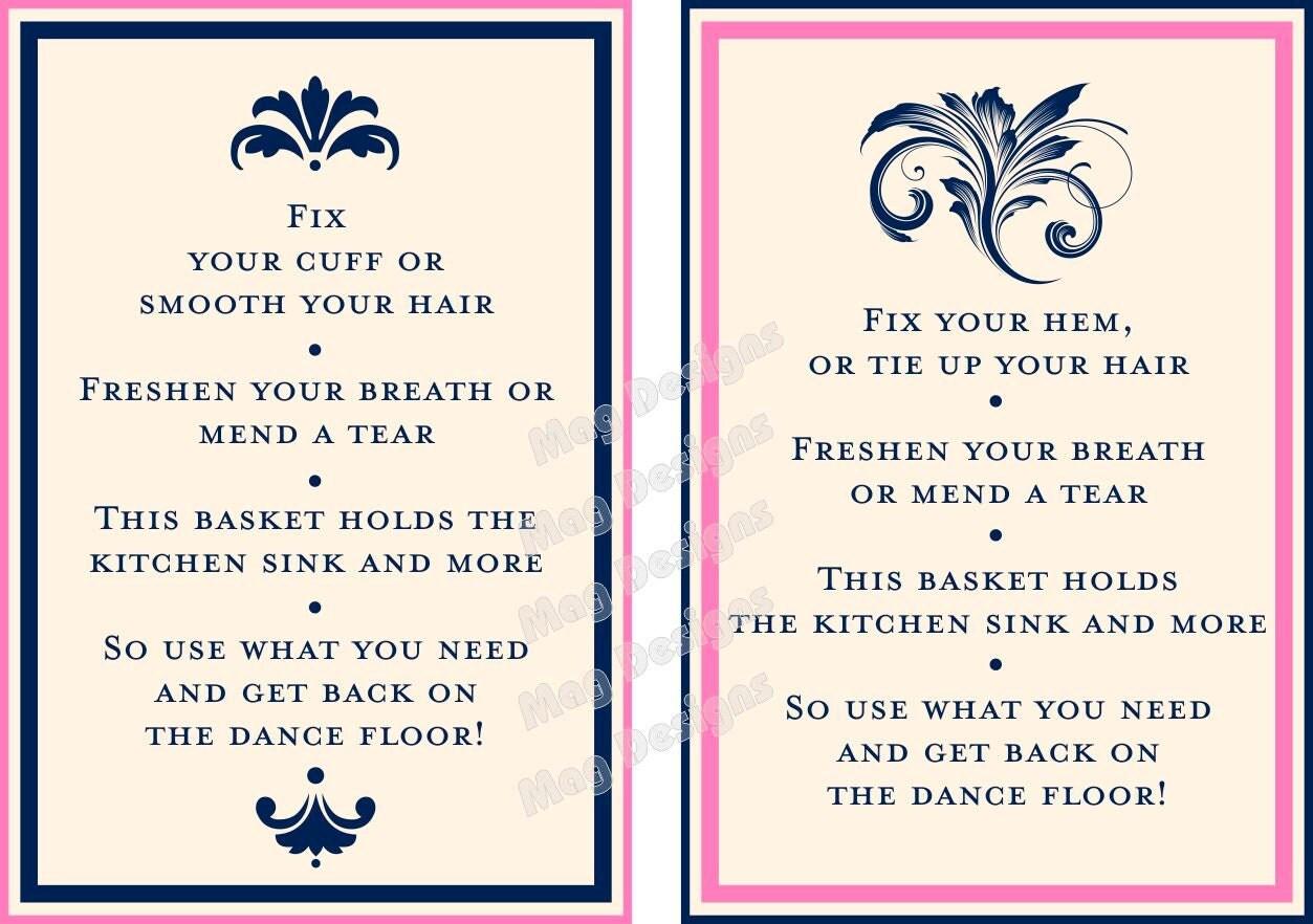 Customizable wedding reception bathroom guest basket sign in for Wedding reception bathroom ideas