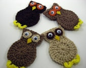 Set of Four Crocheted Owl Magnets