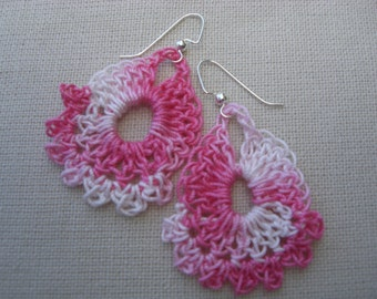 Pink Ombre Crochet Earrings