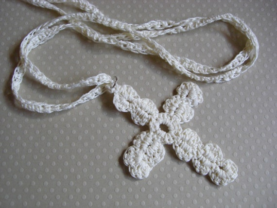 Items Similar To Crochet Cross Pendant And Cord On Etsy