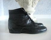Vintage Black Lace Up Granny Boots, Sz 8 M