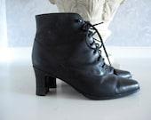 Vintage Black Leather Lace Up Ankle Boots, Sz 7 M
