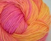 Clearance - Neon Tangerine - Hand Dyed Vegan Sock Yarn - 447 yds