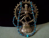 Yoga Mala-54 Bead Green and Blue-Turquoise and Hematite