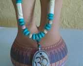 Carved Bone OM Pedant with Turquoise, Jasper and Carved Bone Tubes