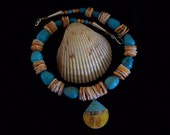 Shell on the Beach--Shell Pendant Inlaid with Turquoise and Abalone Shell