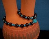 Wrist Yoga Mala--27 Beads of  Onyx and Turquoise