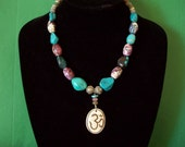 OM Pendant-Carved Bone- Strung with Arizona and Asian Turquoise