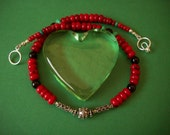 Antiqued Sterling Silver, Red Coral, Onyx with Hint of Green