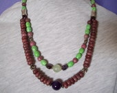 Two-Strand Necklace with Center-Pieces of Amethyst and New Jade