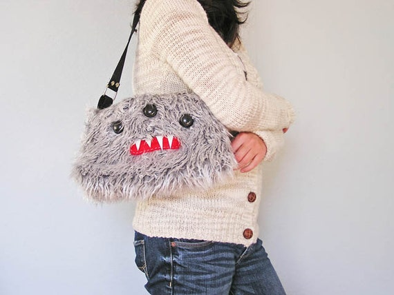 Shaggy Gray Monster Shoulder Purse