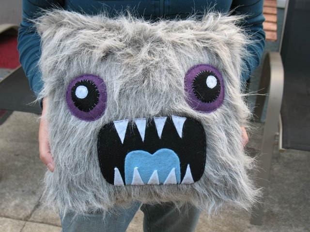 Gray Monster Pillow
