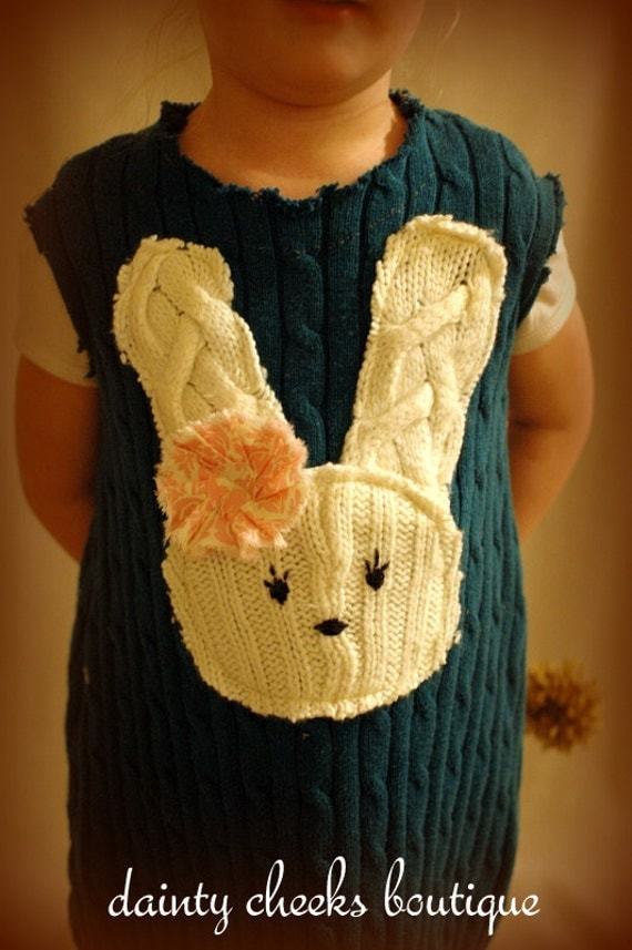 Teal upcycled bunny sweater dress