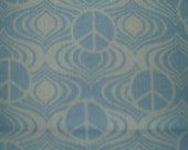 1 Yard Cotton Fabric Light Blue Background with White Peace Sign, SALE