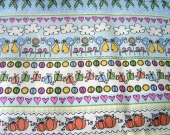 1 Yard Cotton Fabric Stripes for Baby  Stork Flowers Hearts