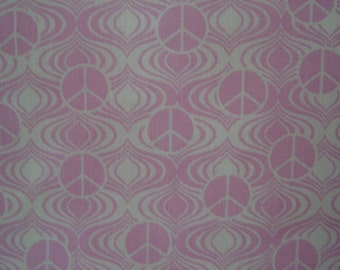 1 Yard Cotton Fabric Pink Background with White Peace Signs SALE