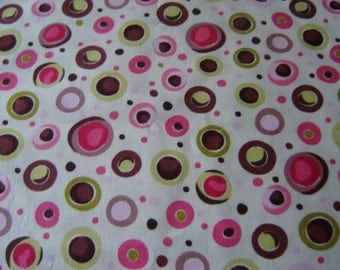 1 Yard Cotton Fabric Funky Dots in Green and Pink Clearance