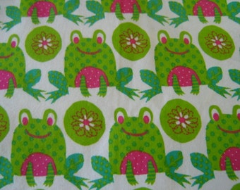 1 Yard Cotton Flannel Frogs and Flowers    Clearance