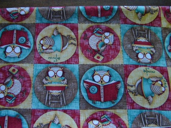 1 Yard..Cotton Fabric...Owls in Circles...Designer Fabric...Maroon...Brown..Gold...Blue