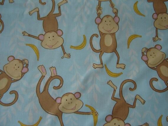 1/2 Yard Cotton Fabric Monkeys And Bananas