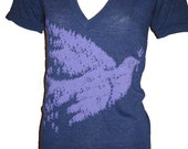 People Peace Dove Bird Art American Apparel Unisex V-neck  T Shirt