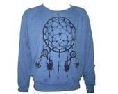 Ladies Raglan Light Blue Pullover Top Sweatshirt American Apparel Dreamcatcher Art Print  M