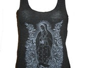 Lady of Guadalupe Virgin Mary Art Print Ladies Tank T-shirt Made in USA