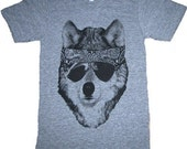 The Party WOLF Dog Mens Super soft T-Shirt Made in USA Athletic Grey   S M L XL or xxl