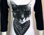 Cat in Sunglasses 3/4 sleeve T-Shirt American Apparel Unisex Sizes    XS  or   XL