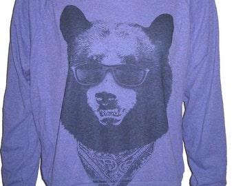 BEAR in Sunglasses Art Print American Apparel Raglan Slouchy Sweatshirt Pullover size S M  or  L