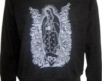Lady of Guadalupe Virgin Mary Art Print Ladies Raglan Slouchy Sweatshirt American Made (Tri-Black)