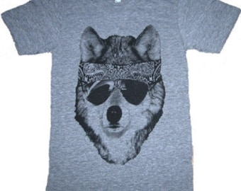 The Party WOLF Dog Mens T-Shirt American Apparel Tri-Blend Athletic Grey  XS S M L XL