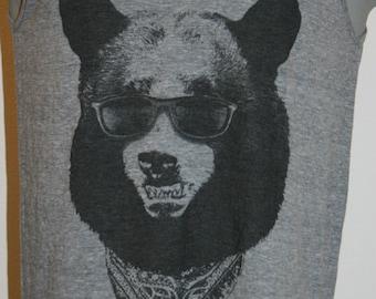 Gangster Bear T-Shirt Mens Tank Top American Apparel Gray XS S M L or XL