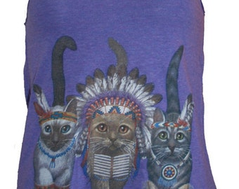 Three Native Kitty Cats Tank Top American Apparel Purple XS, S, M, or L