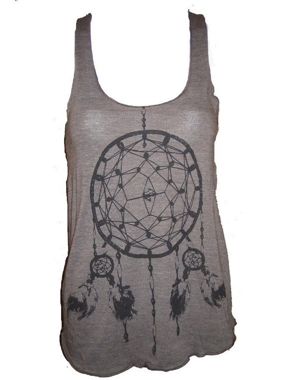Dreamcatcher Native American Art  Print Tank T-shirt Ladies American Apparel S (Coffee Brown)