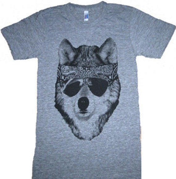 The Party WOLF DOG T-Shirt American Apparel Tri-Blend Athletic Grey L