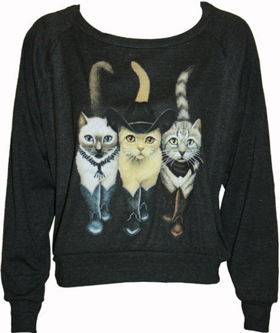 "Hipster Cats in Boots Pullover Slouchy ""Sweatshirt""  Top American Apparel Black L"