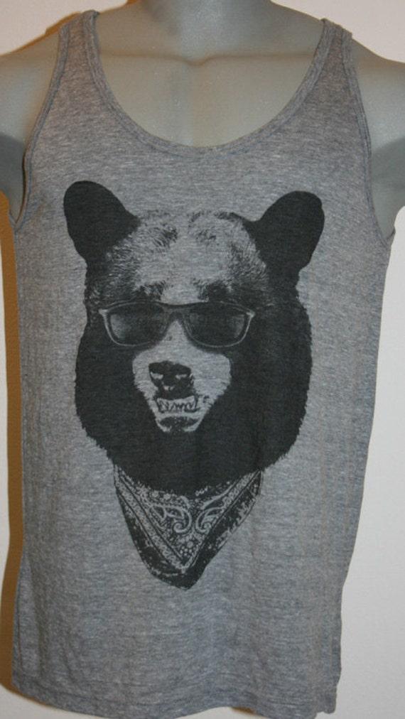 Bear in Sunglasses T-Shirt Tank Top American Apparel Tri-Blend  S