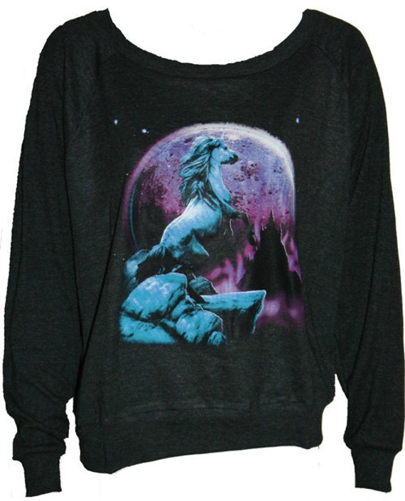 "UNICORN Pullover Slouchy ""Sweatshirt""  Top American Apparel Black L"