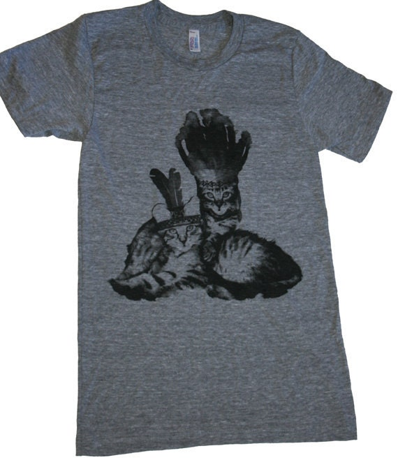 Native Kitty Cats T-Shirt American Apparel Tri-Blend Athletic Grey size L